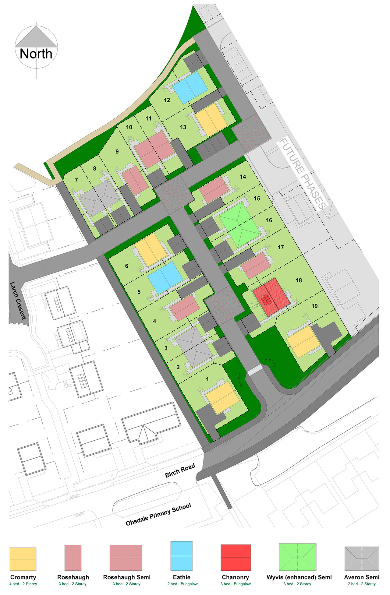 Whitehills View, development plan of new houses, Alness