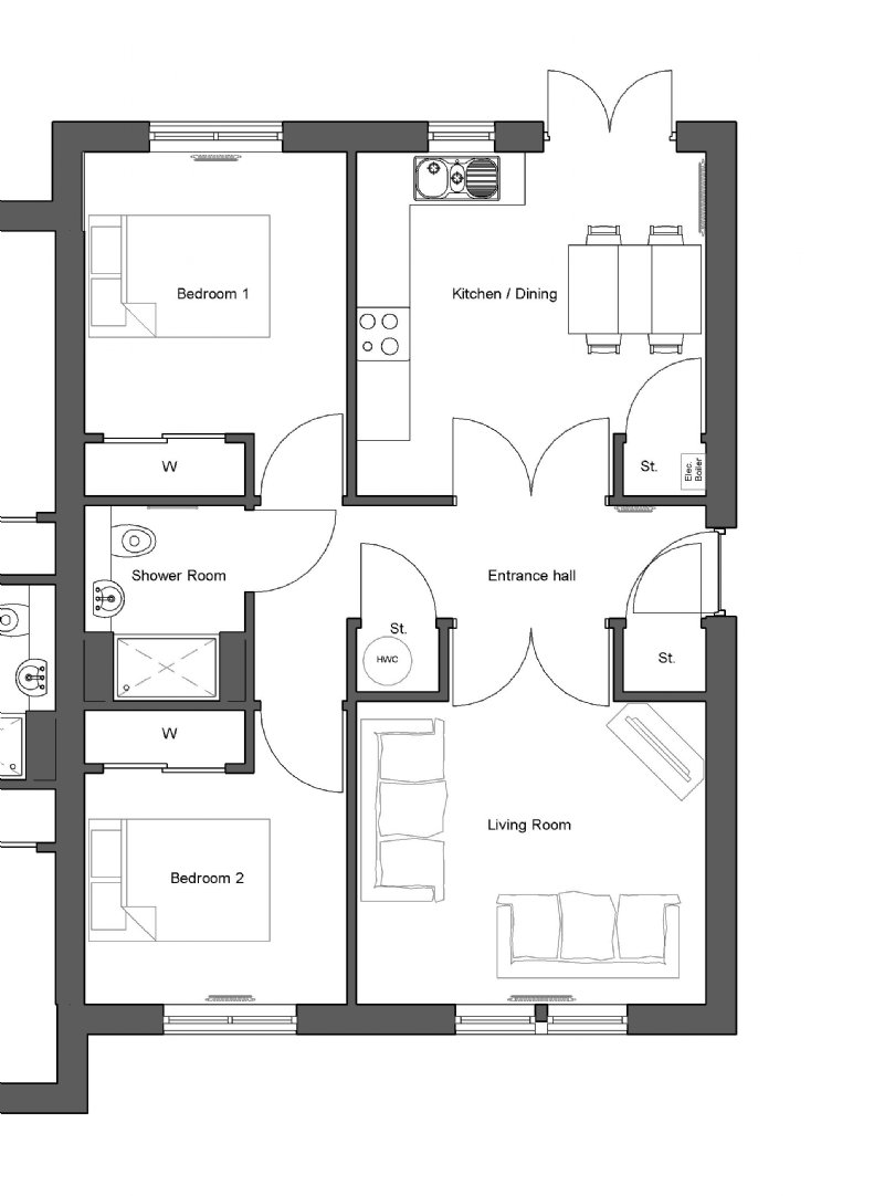 Eathie 2 bedroom new home - floorplan